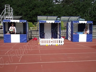Blue and White Funfair Stalls